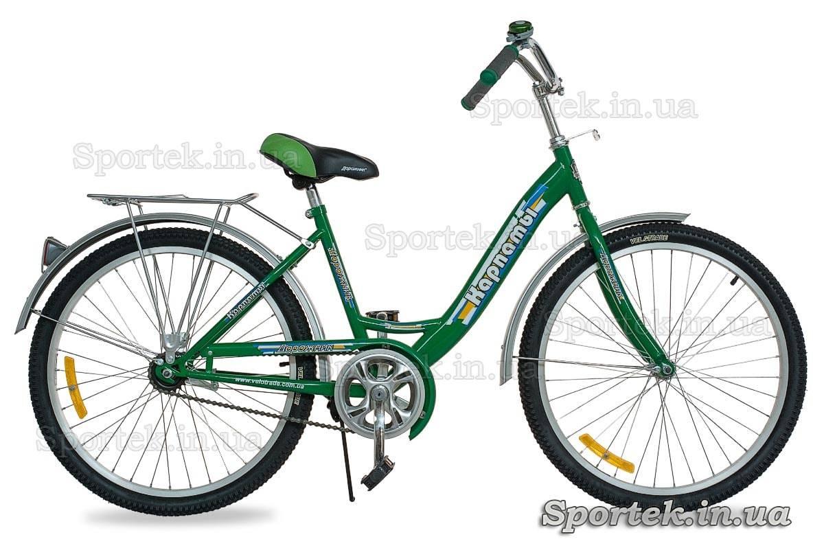 Зеленый городской универсальный подростковый велосипед Дорожник Карпаты 2015