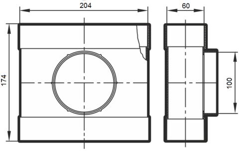 Тройник проходной 204х60/100 мм пластиковый