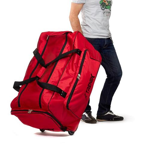Хоккейный баул 95х45х50 см, красный, на колесах