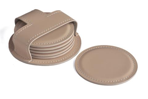 Набор костеров (6 шт) BUVARDO БИЗНЕС из кожи цвет CAFE LATTE