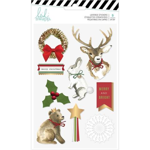 Объемные украшения -Heidi Swapp Winter Wonderland Layered Stickers 9шт