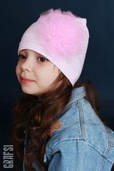 139К Шапка однослойная с цветком. Розовый меланж.