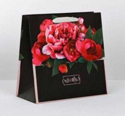Подарочный пакет (цветы, черный)