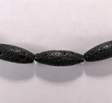 Бусина из лавового камня, фигурная, 10x30 мм (овал, гладкая)