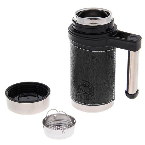 Термокружка Арктика (0,5 литра), черная, кожаная вставка