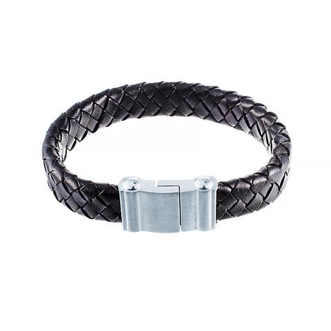 Стильный плетёный плоский кожаный чёрный браслет JV 232-0112 в подарочной упаковке