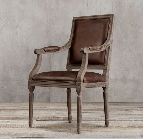 Vintage French Square Leather Armchair