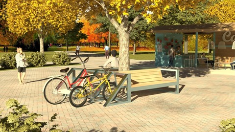 Bicycle parking CITY / with paired sofa