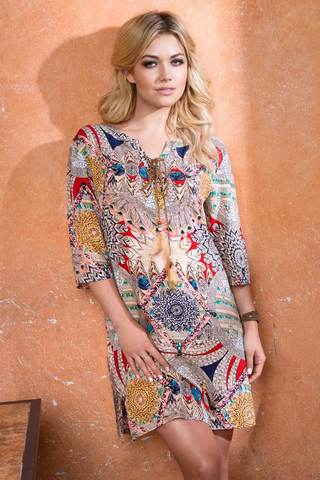 Женская свободная итальянская оригинальная сорочка туника Mia-Mia с этно принтом
