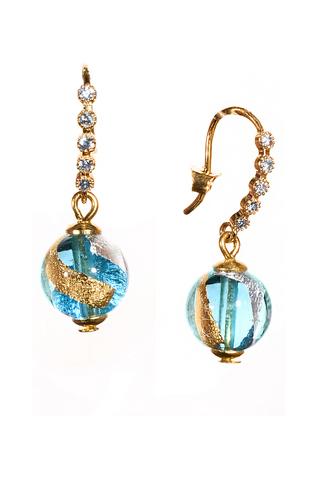 Серьги из муранского стекла со стразами Allegra FoFa золотисто-голубые