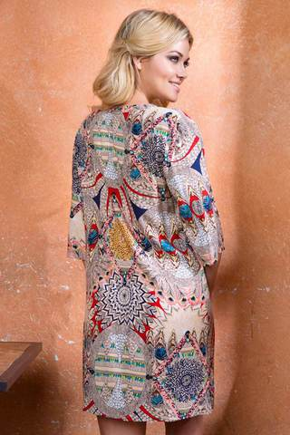 Женская свободная итальянская оригинальная сорочка туника Mia-Mia с этно принтом вид сзади