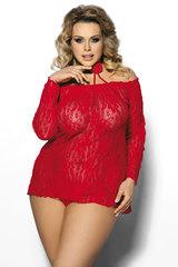 Красная кружевная сорочка большого размера и стринги