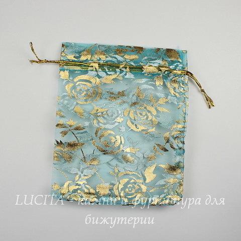 """Подарочный мешочек из органзы """"Золотые розы"""" голубой, 12х10 см"""