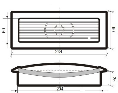 Решетка приточно-вытяжная с фланцем 204х60 мм пластиковая