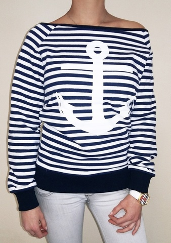 Свитшот в морском стиле с белым якорем