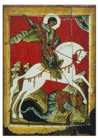 Икона святого Георгия Победоносца на дереве на левкасе мастерская Иконный Дом
