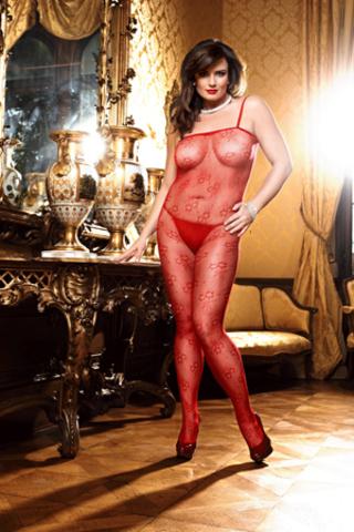 Эротический кэтсьюит чулок на тело красный Spanish (50-52)