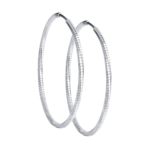 Серьги-конго Ø50 мм из серебра с алмазной гранью от SOKOLOV