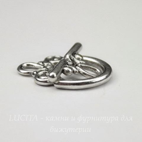 "Замок - тоггл из 2х частей ""Узор"" (цвет - античное серебро) 20х15 мм"