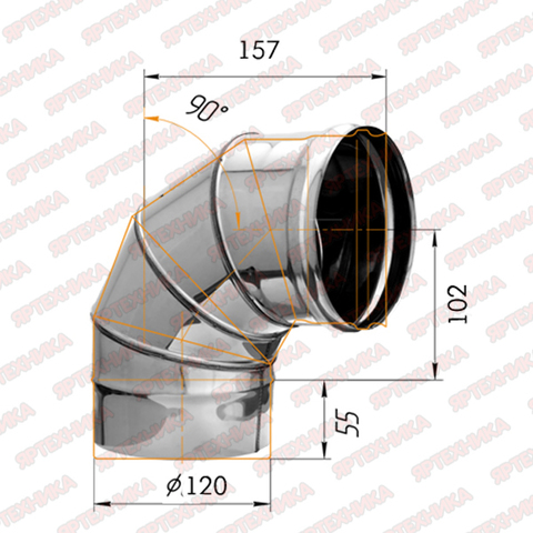 Отвод моно 90° d120мм (430/0,5мм) Ferrum