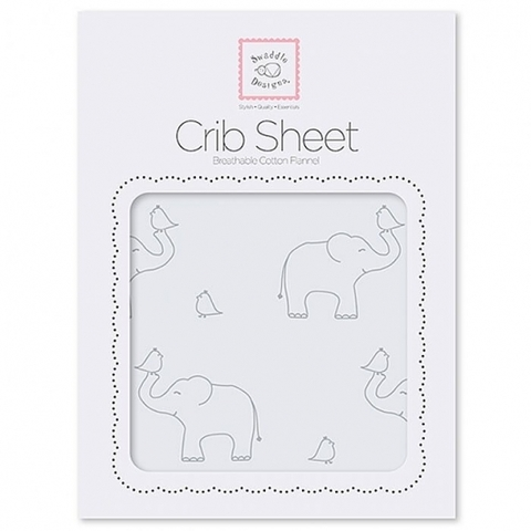 Простыни детские SwaddleDesigns Fitted Crib Sheet Sterling Deco Elephants