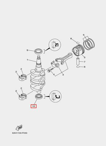 Сальник коленвала нижний для лодочного мотора F20 Sea-PRO 23×44×7 (3-10)