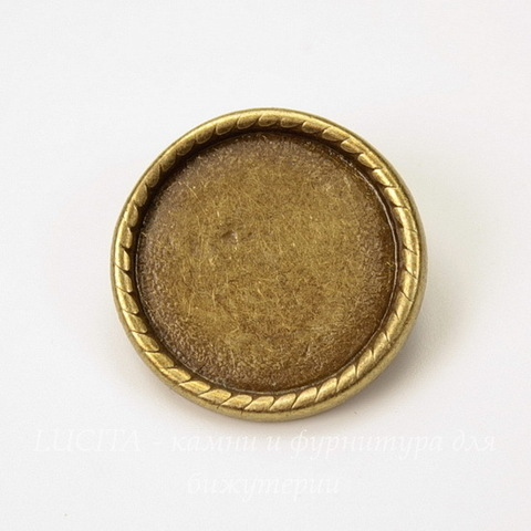 """Основа для броши """"Плетенка"""" с сеттингом для кабошона 18 мм (цвет - античная бронза)"""