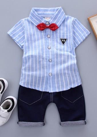 Комплект для мальчика рубашка+бриджи голубой
