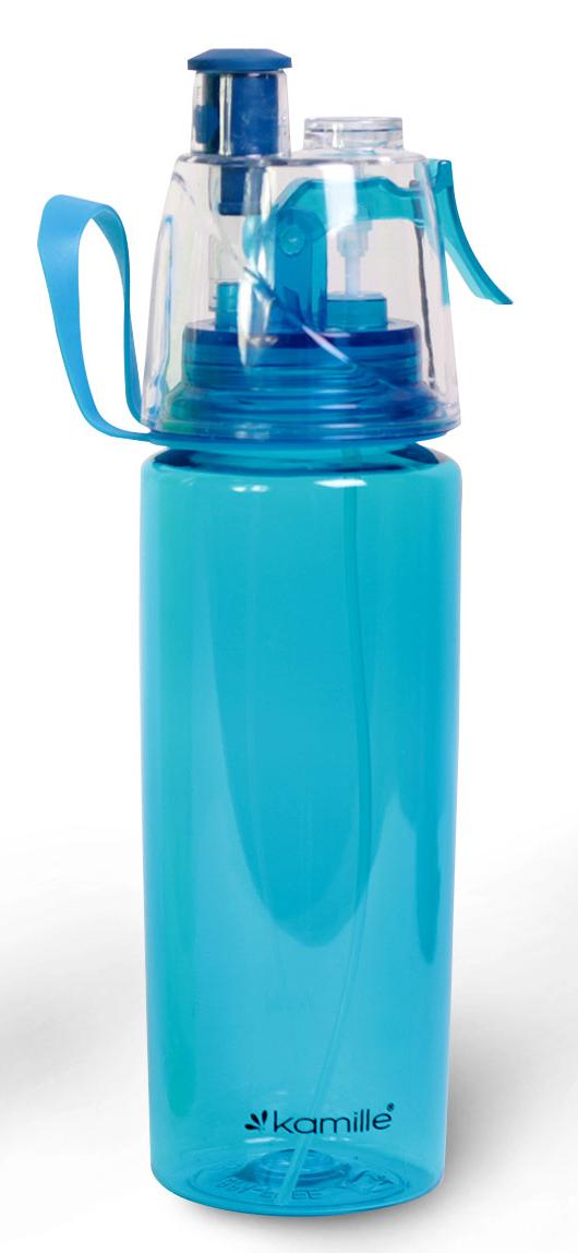 Бутылка для воды Kamille с распылителем 570 мл. голубая