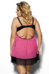 Эротическая прозрачная сорочка большого размера черно-розовая