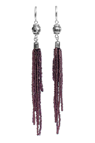 Серьги-каскад бисерные фиолетовые