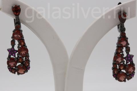 Серьги с гранатом и рубинами из серебра 925