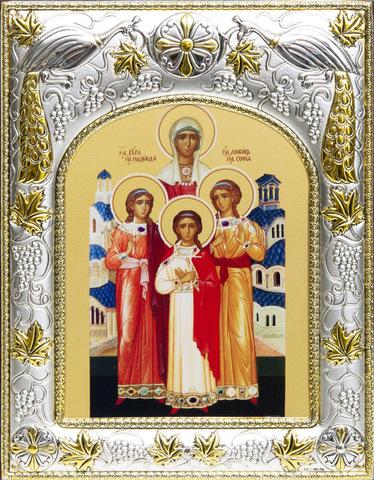 Серебряная икона именная Вера, Надежда, Любовь и София 18x14см
