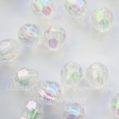 Бусина акриловая шарик с огранкой прозрачный с AB покрытием 8 мм, 10 штук