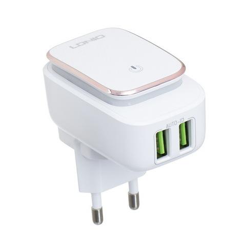 СЗУ Ldnio A2205 с кабелем microUSB (2xUSB, ночник, 2.4A) white