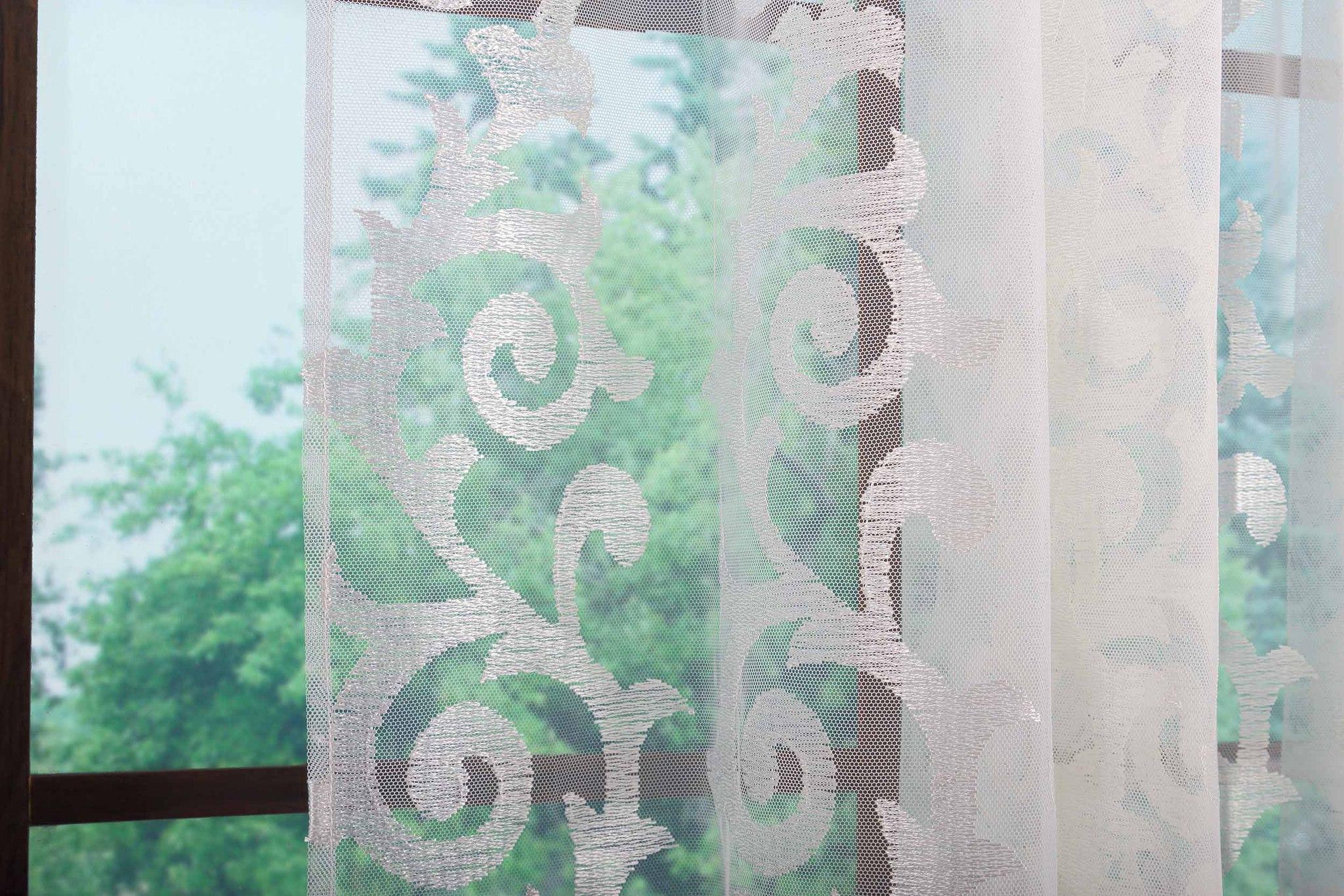 Штора. Микросетка с кремовой классической вышивкой (Вензель)