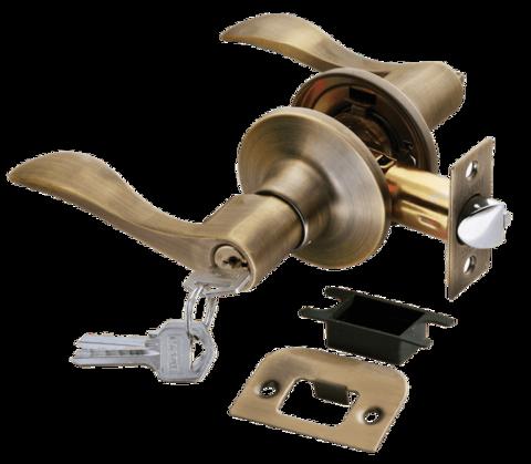 Фурнитура - Ручка Нажимная с ключом-завёрткой Rucetti HK-03 L, цвет бронза античная матовая