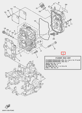 Головка блока цилиндров в сборе для лодочного мотора F20 Sea-PRO (4-1)