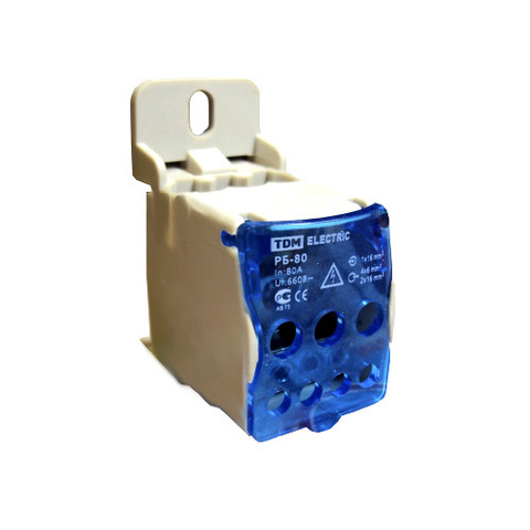 Распределительный блок на DIN-рейку РБ-80 1П 80А (1х16/4х6+2x16) TDM