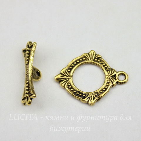 Замок - тоггл из 2х частей (цвет - античное золото) 18х15 мм