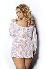 Эластичная кружевная сорочка большого размера белая