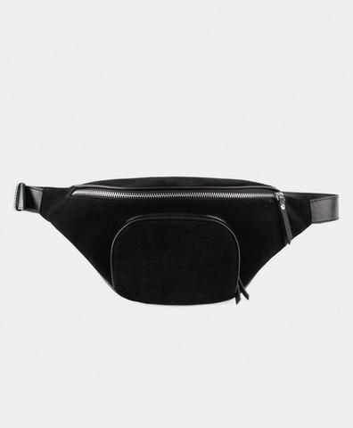 Поясная сумка из замши черного цвета