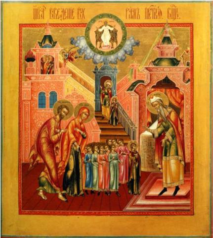 Икона Божией Матери Введение Во храм на дереве на левкасе мастерская Иконный Дом