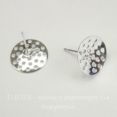 Пуссеты - гвоздики с круглой площадкой 14 мм (цвет - серебро) (без заглушек)