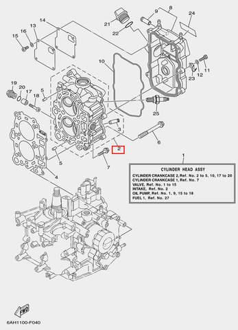 Головка блока цилиндров для лодочного мотора F20 Sea-PRO (4-2)
