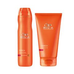 Wella Enrich Питательный шампунь для объема нормальный и тонких волос 250мл + Самонагревающаяся питалельная маска 150мл (набор)