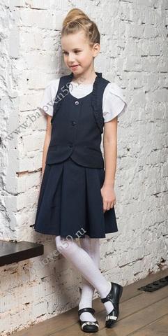 Баловень Юбка школьная для девочки темно-синяя