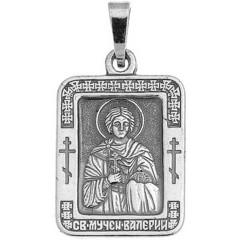 Святой Валерий. Нательная икона посеребренная.