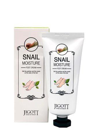 Jigott Snail Moisture Foot Cream Увлажняющий крем для ног с экстрактом улитки с охлаждающим действием, 100мл
