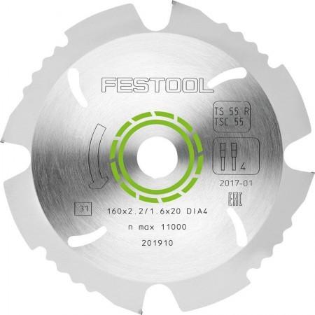 Диск пильный специальный, с алмазным напылением 160x2,2x20 DIA4 Festool 201910